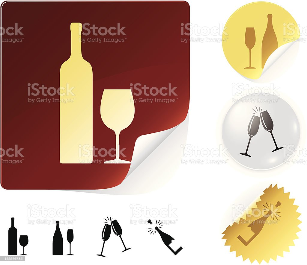 Wine icons royalty-free stock vector art