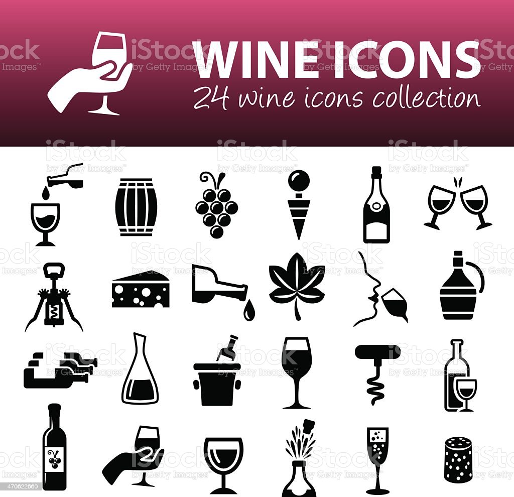 wine icons vector art illustration