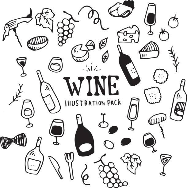ilustrações de stock, clip art, desenhos animados e ícones de wine illustration pack - queijo