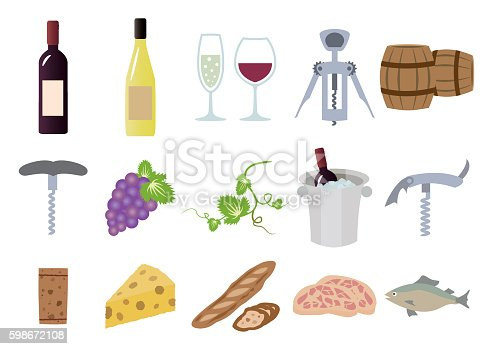 Illustration set of a goods about wine