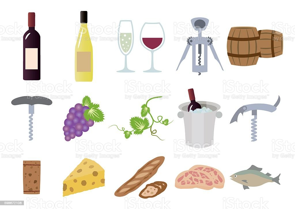 Wine illustration set vector art illustration