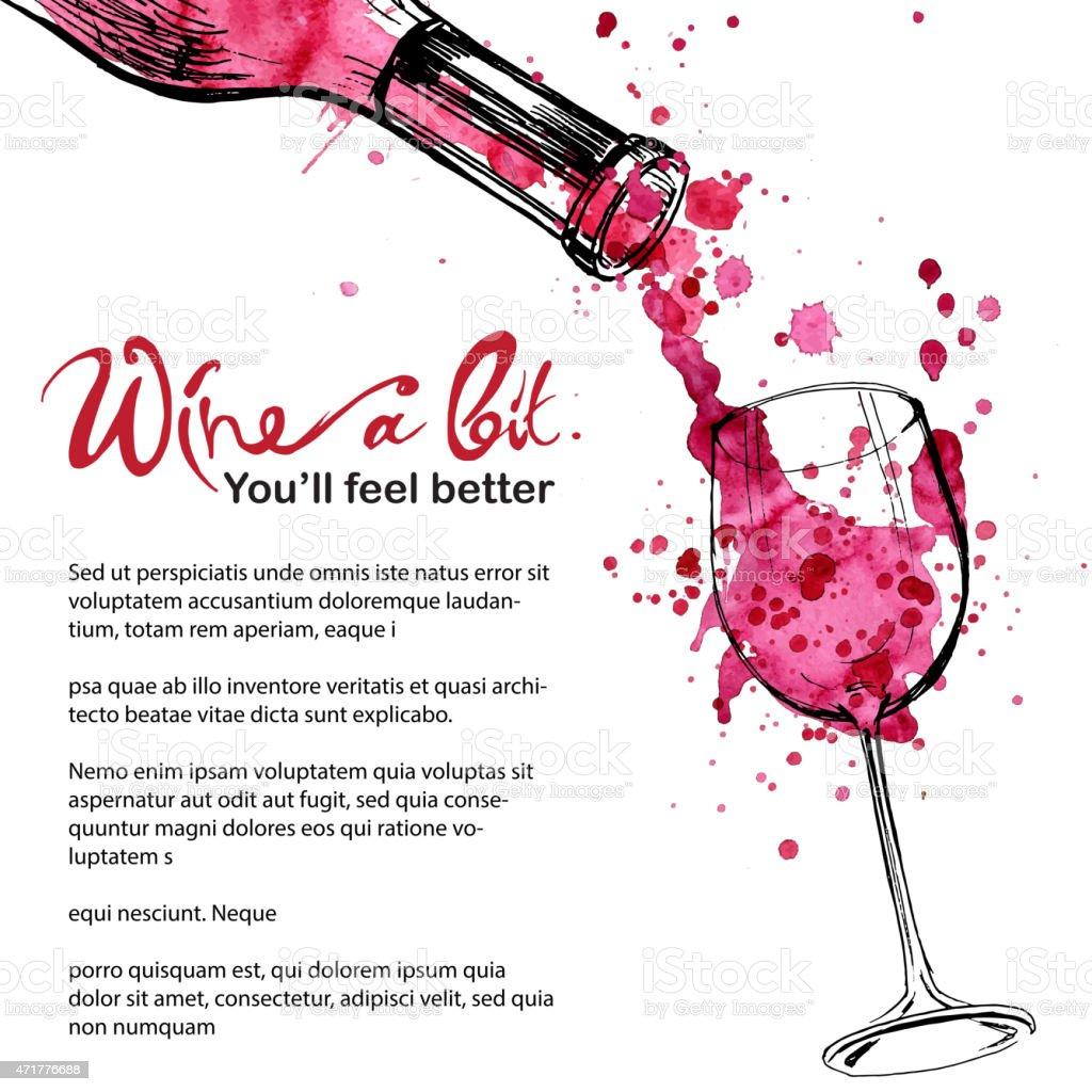 Wine illustration - sketch and art style vector art illustration