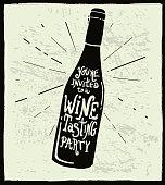 Wine invitation wine bottle label hand lettering design