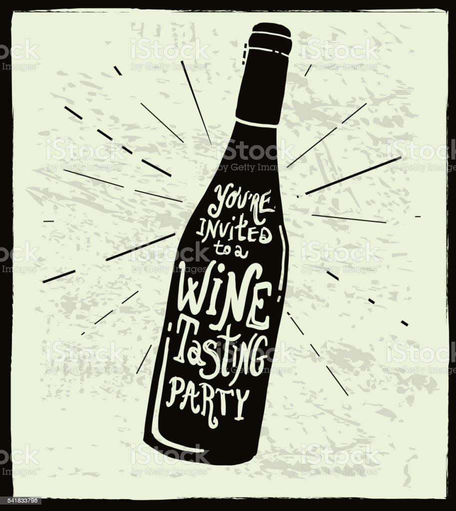Vin invitation étiquette de bouteille de vin modèle d'écriture à la main - Illustration vectorielle