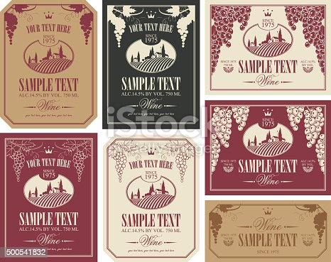 wine label set with a landscape of vineyards in retro style