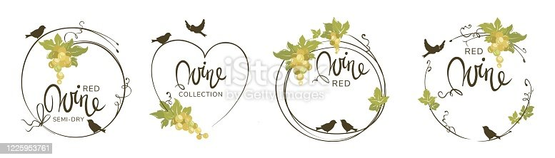 istock Wine label with birds and grapes 1225953761