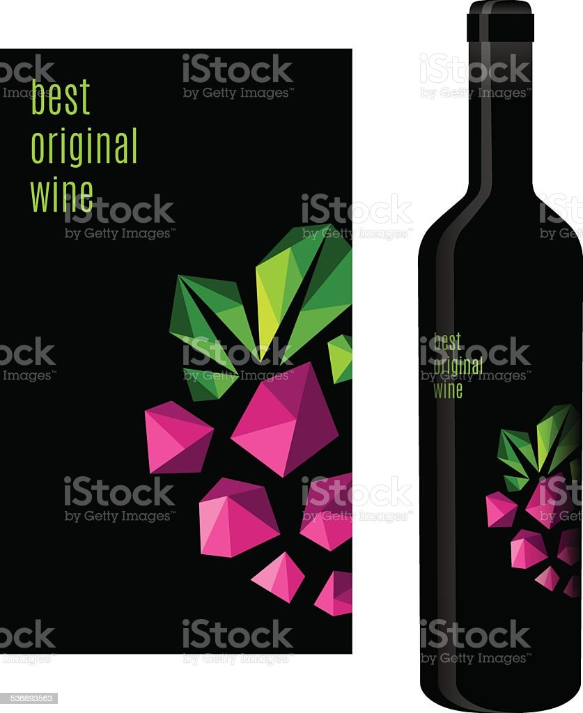 Wine label with bunch of grapes vector art illustration