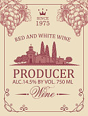 Wine label with a rural landscape of a European village, hand-drawn bunches of grapes and inscriptions. Decorative vector label in retro style on the old paper background