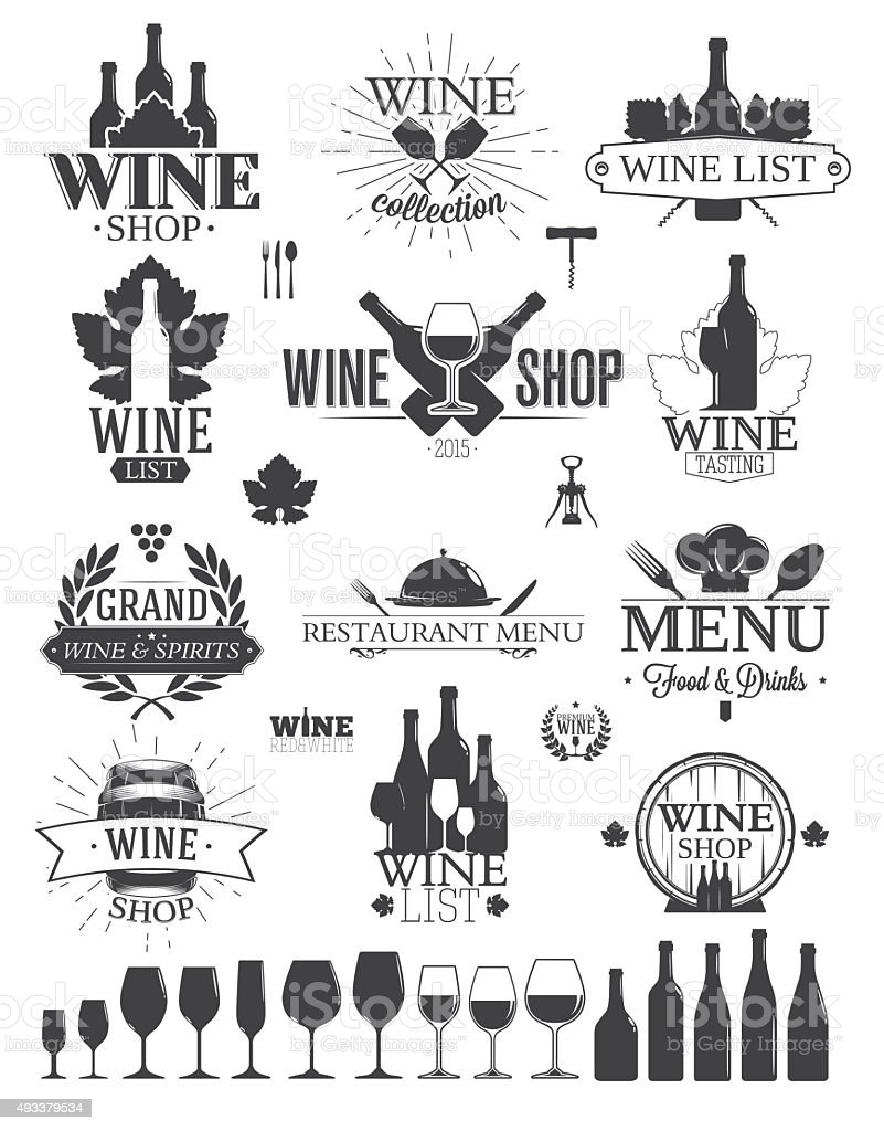 Wine Labels and Logos vector art illustration