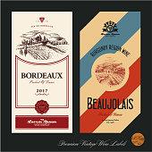 Wine vector labels design template. Vineyard