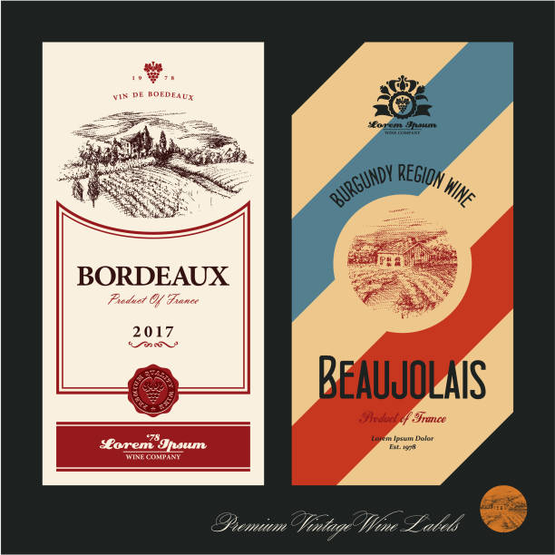 illustrations, cliparts, dessins animés et icônes de étiquettes de vin. vignoble - france