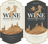 wine labels with landscape of vineyards