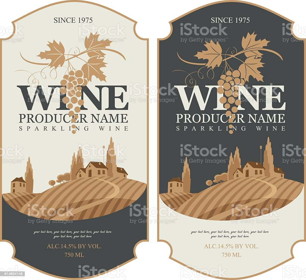 wine labels with landscape of vineyards - Illustration vectorielle
