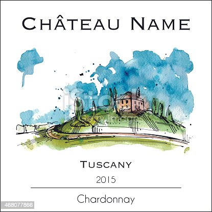 Wine label with a watercolor illustration of Tuscany