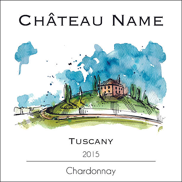 Wine lable with a watercolor illustration of Tuscany vector art illustration