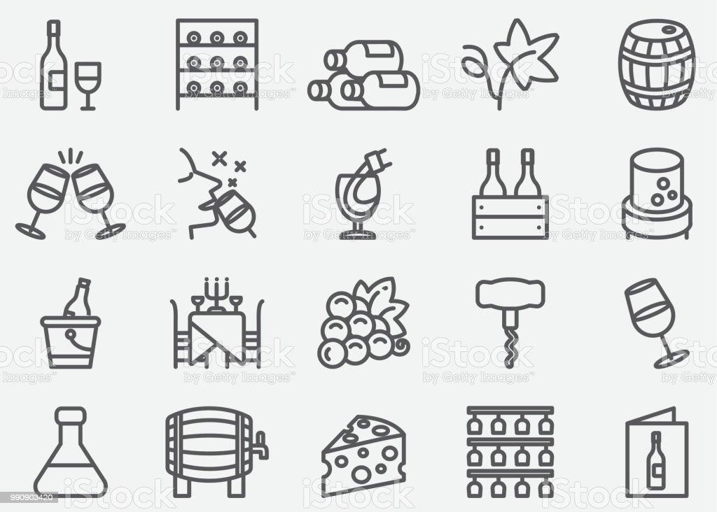 Wine Line Icons