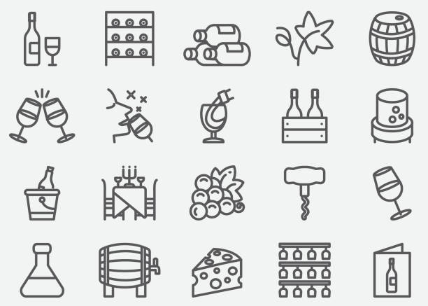 wine line icons - butelka wina stock illustrations