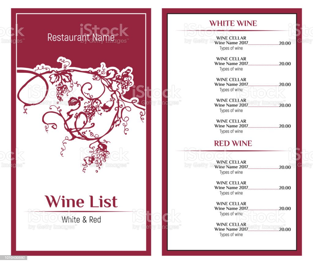 wine list design template hand drawn vine grape vintage design of