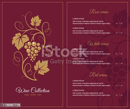 Wine list design template with decorative grapes illustration in retro style.