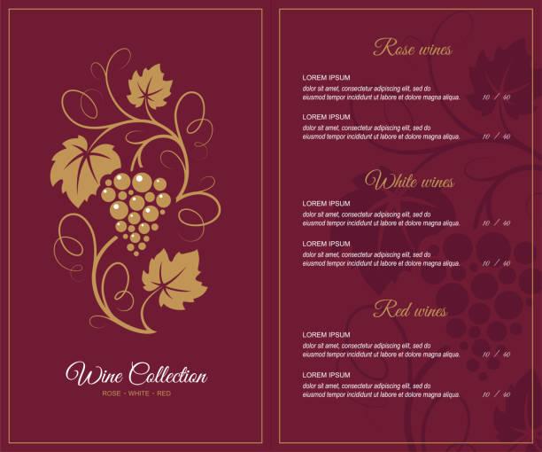 bildbanksillustrationer, clip art samt tecknat material och ikoner med vin lista designmall. - vindruva