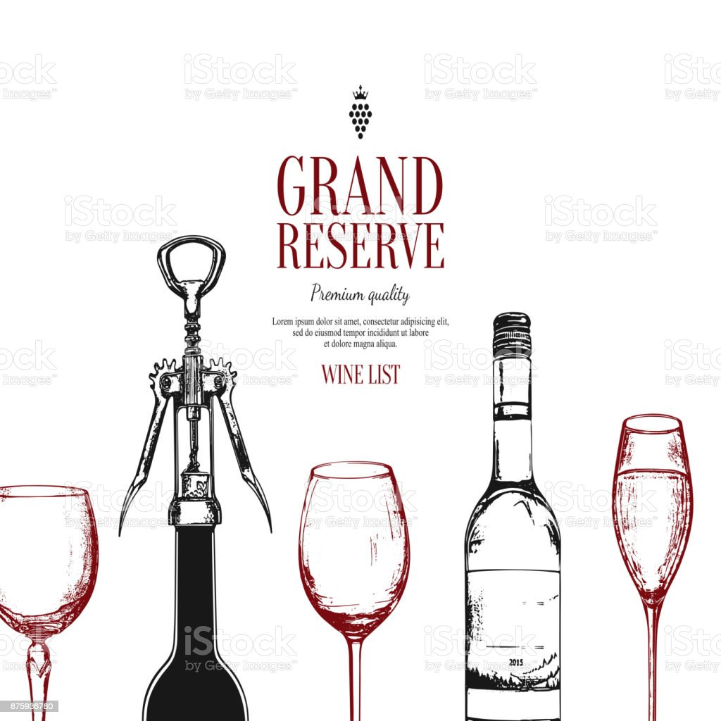 Wine List Design. Vector Menu Brochure Template For Cafe, Coffee House,  Restaurant,  Free Wine List Template