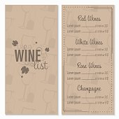 Wine list menu card design vector template with glasses and bottle of wine in the background.