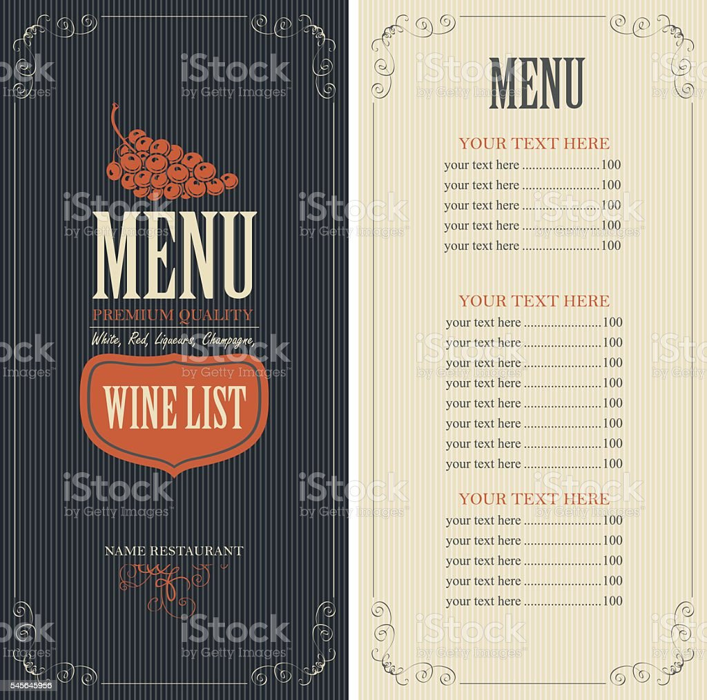 Wine list menu vector art illustration