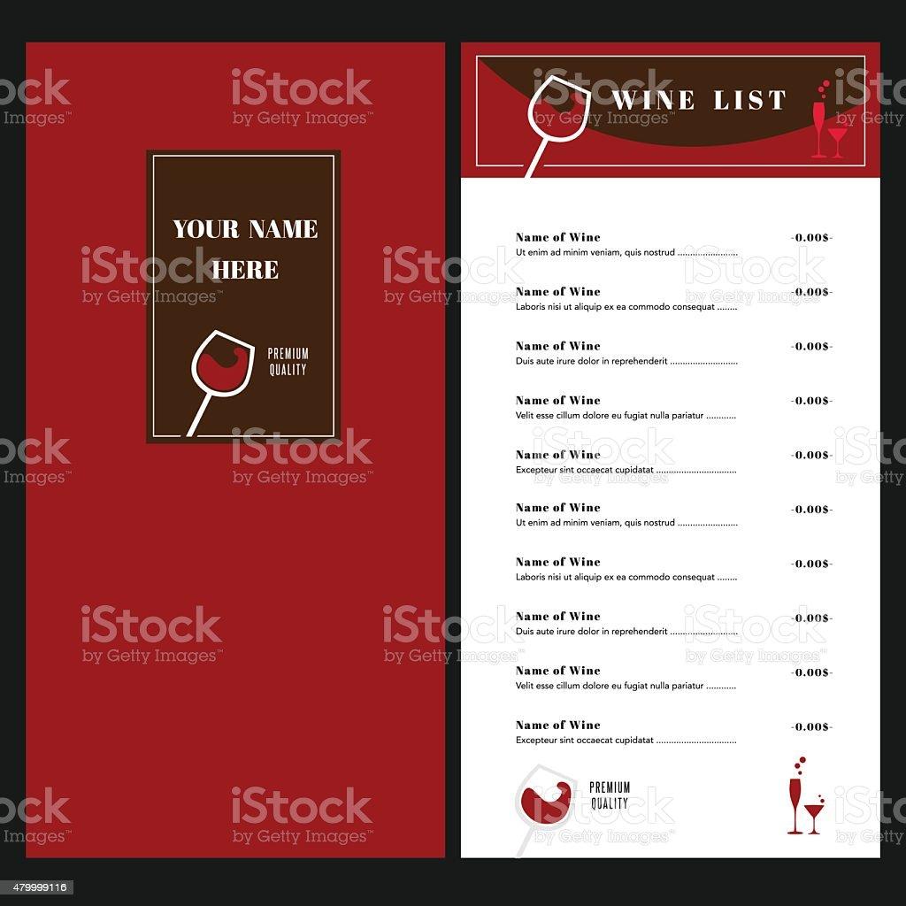 Lista De Vinos El Restaurante Café Plantilla De Diseño De Diseño ...