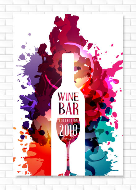 wine list template for bar or restaurant menu design. - wino stock illustrations