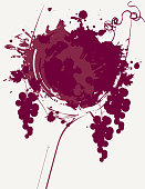 Vector banner with a glass of wine with wine spots and splashes, grapes and vines. Can be used for a wine list of restaurant menus.