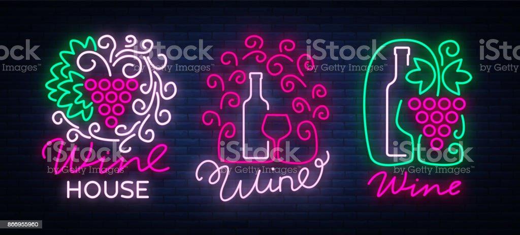 Wine Logos Set In Trendy Neon Style Logo Neon Signs