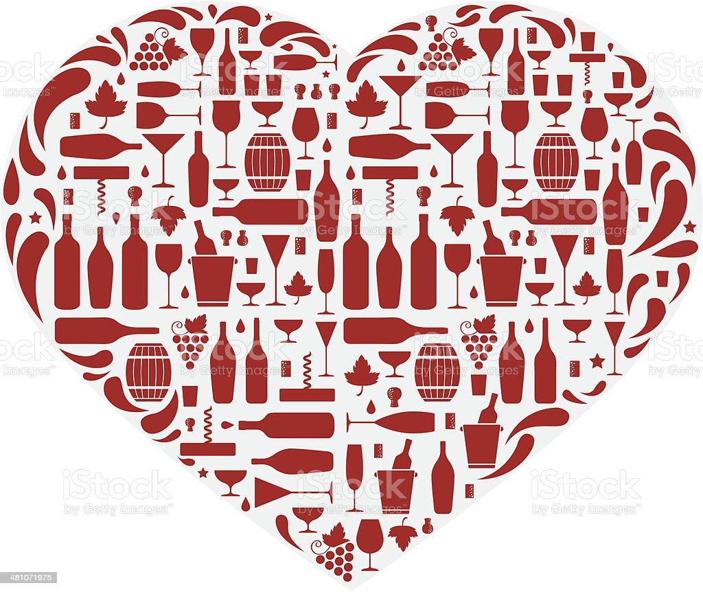 Wine love vector art illustration