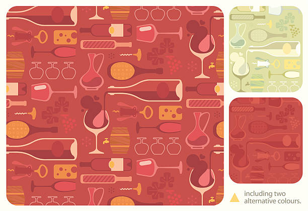 wine lover pattern - chihhang stock illustrations