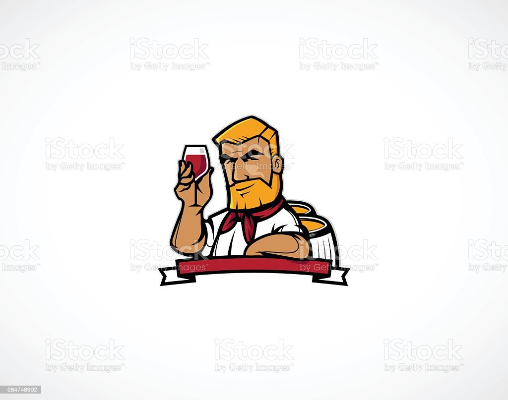 Wine Maker character vector art illustration