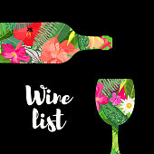 Wine menu tropical style vector background
