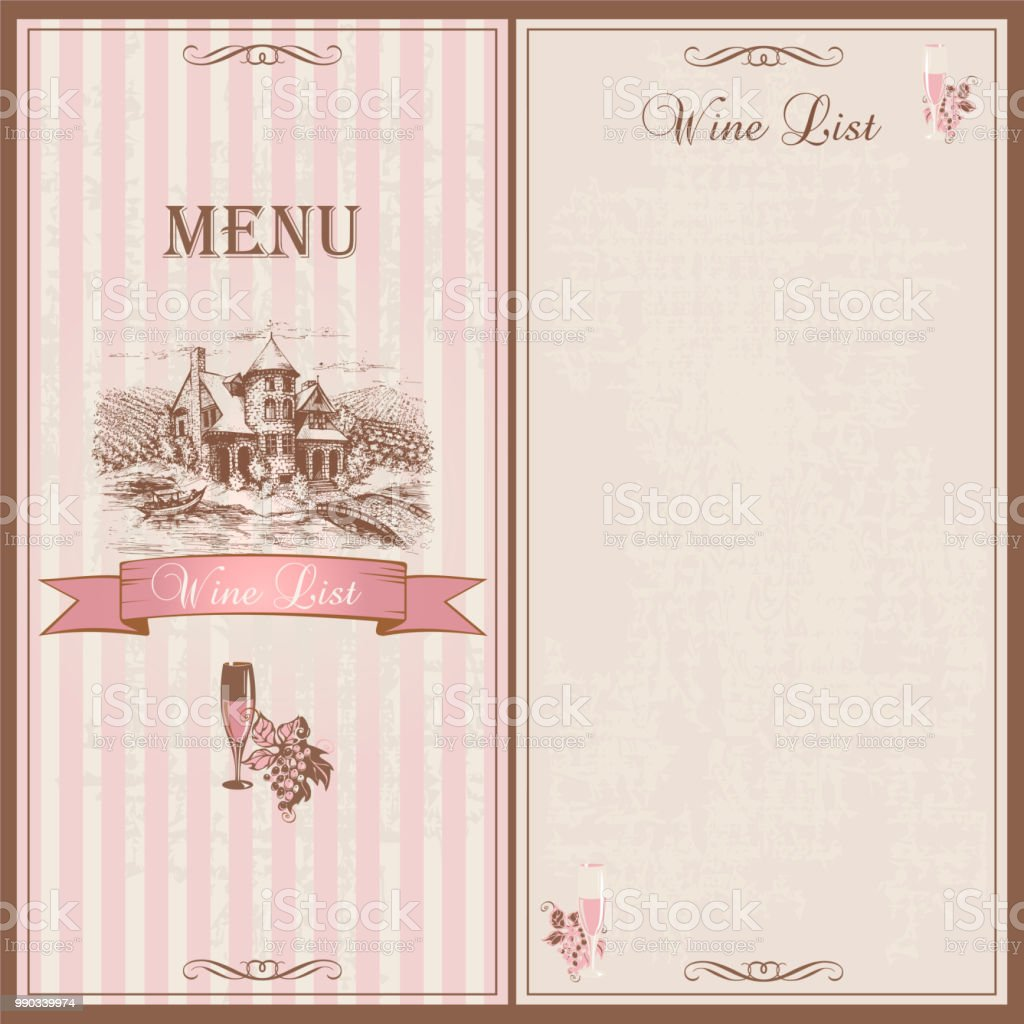 Wine Menu Wine List Template Design For Restaurants Sketch Of The ...