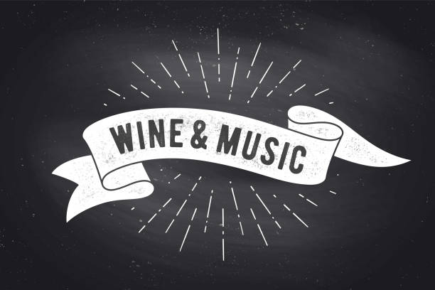 wine, music. vintage ribbon banner - классная доска stock illustrations