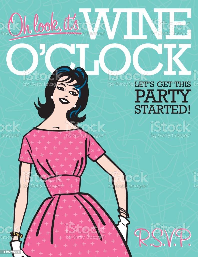 Wine O'Clock Retro Party Invitation vector art illustration