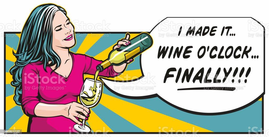 Wine O'clock vector art illustration