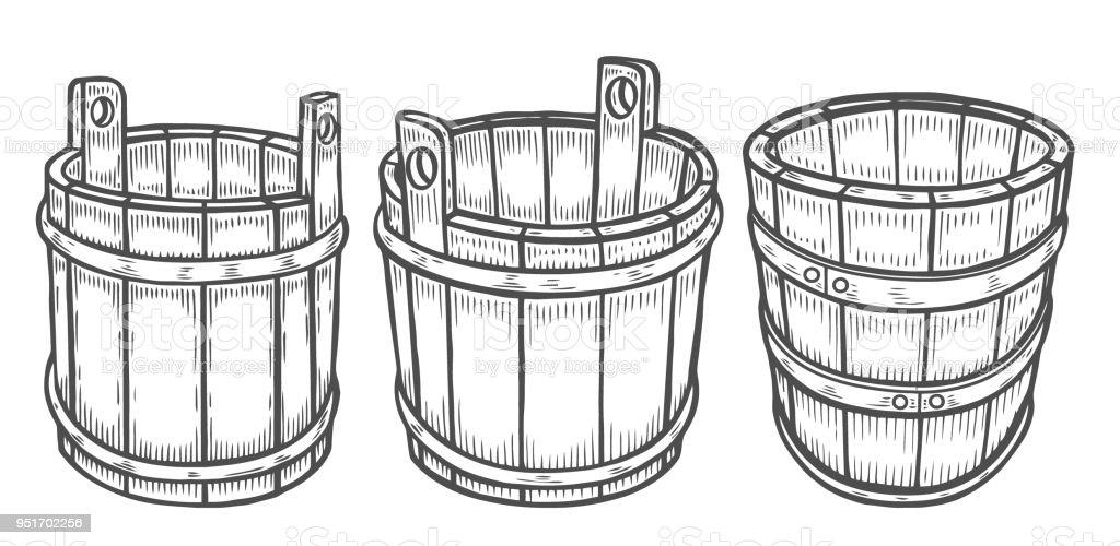 Wine or beer barrel isolated vector art illustration