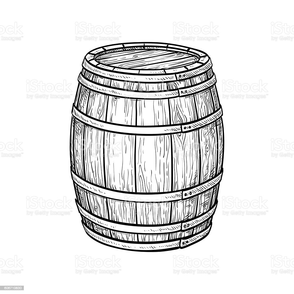 Wine or beer barrel vector art illustration