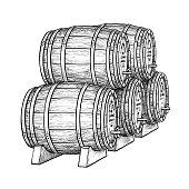 Wine or beer barrels