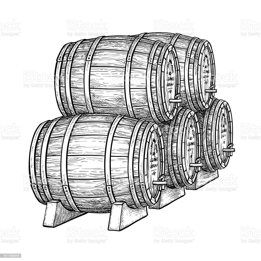 Wine or beer barrels vector art illustration