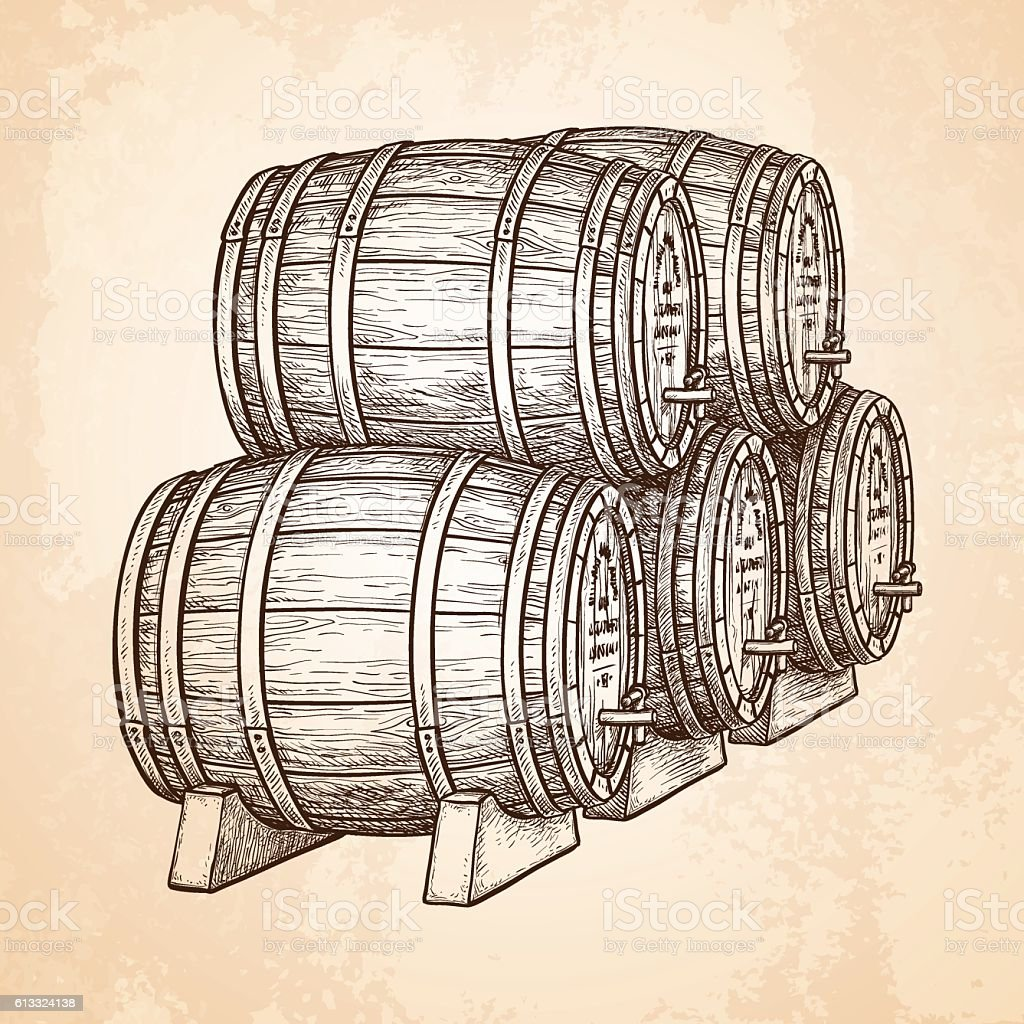 Wine or beer barrels. vector art illustration