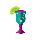 Wine or cocktail glass vector illustration isolated on white background. Cocktail concept. Flat style design.