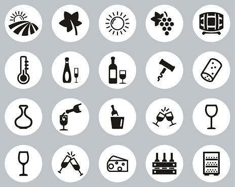 Wine Or Winery Icons Black & White Flat Design Circle Set Big