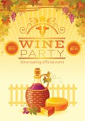 Wine party fall harvest festival poster. Vineyard autumn background. Winemaking farm symbols - alcohol bottle, cheese, grapes. Invitation banner design. Europian tradition, farming vector illustration