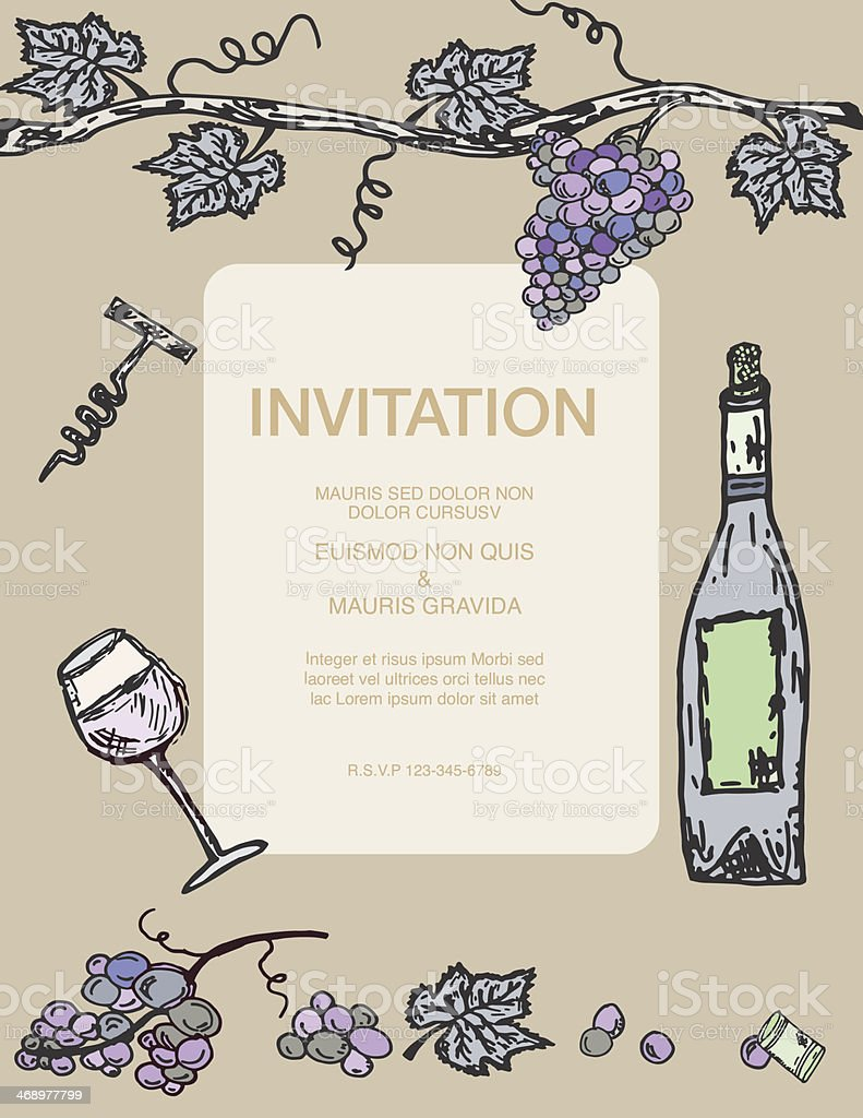Wine Party Invitation With Grapevinebottle And Glass In Pastel stock ...