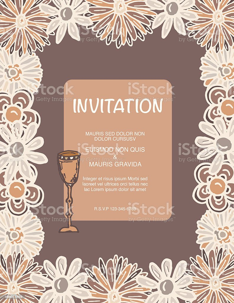 Wine Party Invitation With Soft Color Flowers Frame Border stock ...