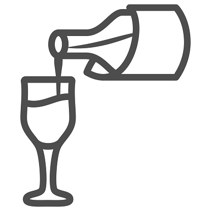 Wine pouring from bottle into glass line icon, Wine festival concept, Bottle and glass sign on white background, tasting wine icon in outline style for mobile, web design. Vector graphics.